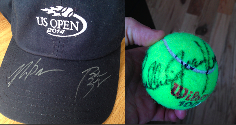 An autographed hat by 2014 Men's Doubles Champions the Bryan Brothers and an autographed tennis ball by legend Billie Jean King...congrats Tony!