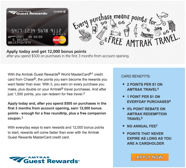 The Amtrak Guest Rewards MasterCard comes with 12,000 points and a companion certificate as a sign-up bonus.
