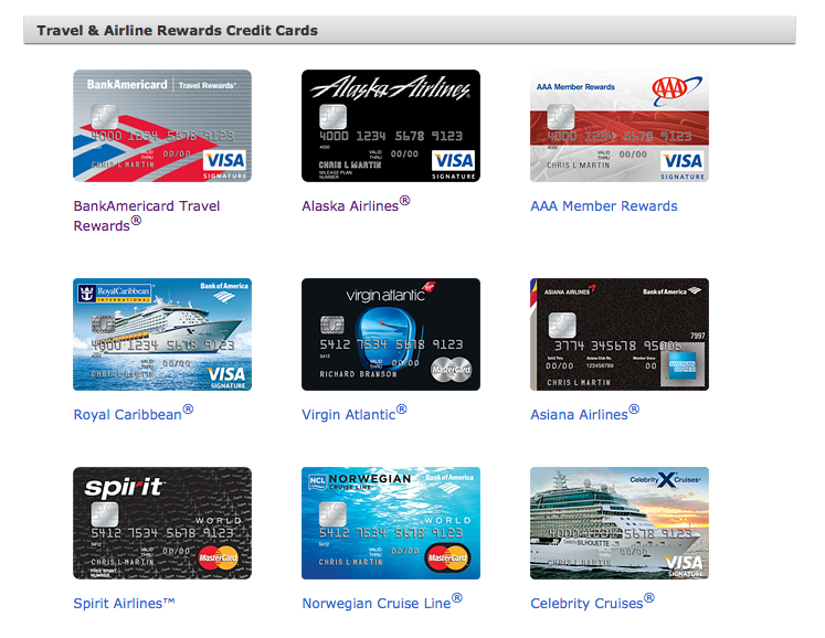Bank of America has some quirky credit cards, including those of Spirit and Asiana.