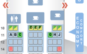 For the most legroom, try the bulkhead or seats 11C or G since they have no seat in front of them.