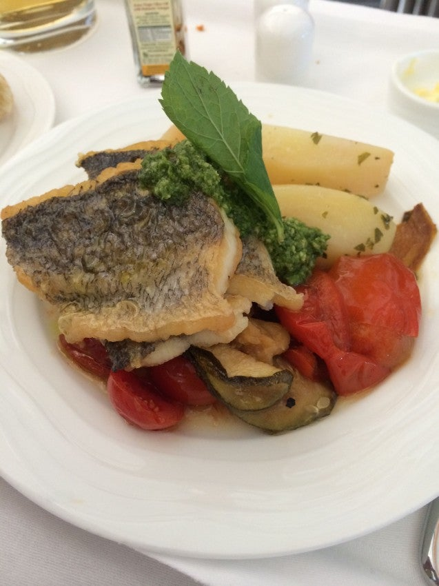 My sea bass entree was really well prepared, a new experience for me on a plane