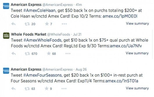 Examples of Amex Twitter sync offers