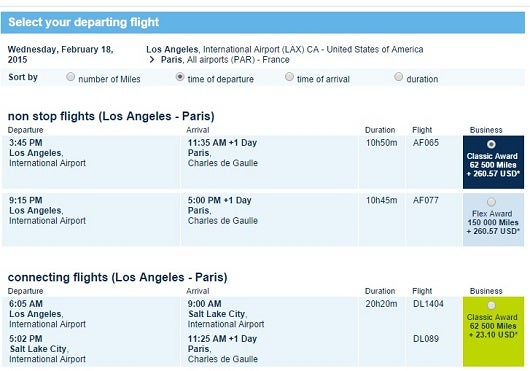 Fuel surcharge and other fees for a flight between Los Angeles and Paris.