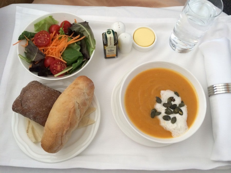 The starter included a delicious butternut squash soup with creme fraiche
