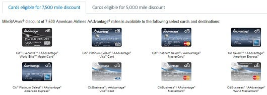 American Airlines cardholders can receive discounts of 5,000 or 7,500 miles round-trip.