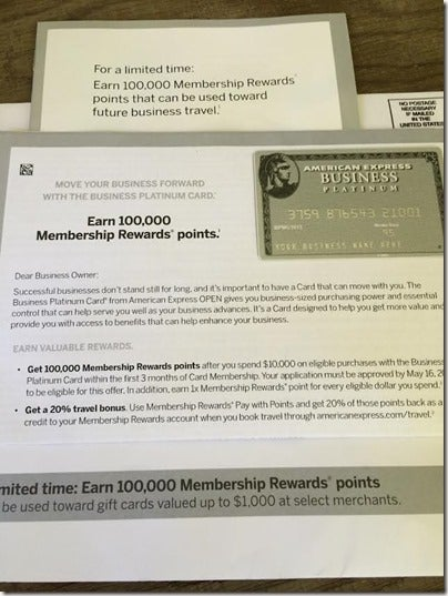 I received a targeted mail offer in the name of a new business LLC that I started.