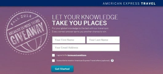 Win a getaway for two from Amex Travel