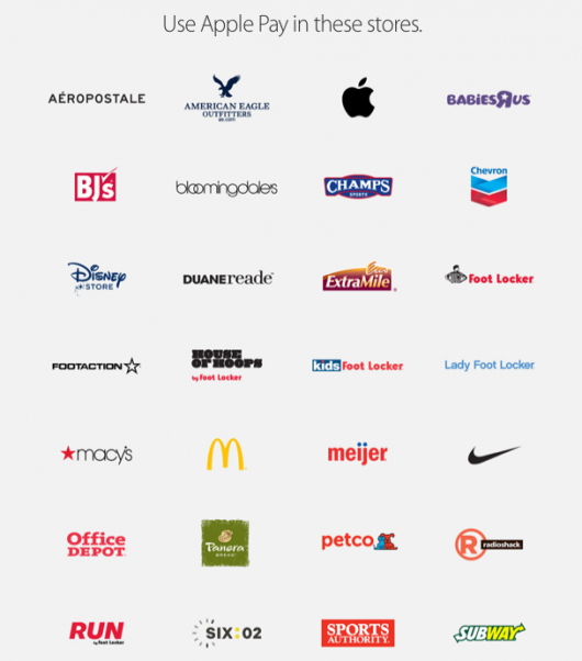 Here are some of the stores that currently offer Apple Pay.