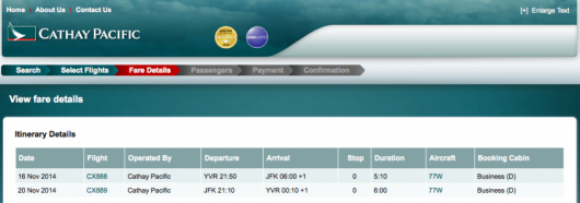 Cathay operates a YVR-JFK tag that you can fly by itself without having to continue on to Hong Kong.