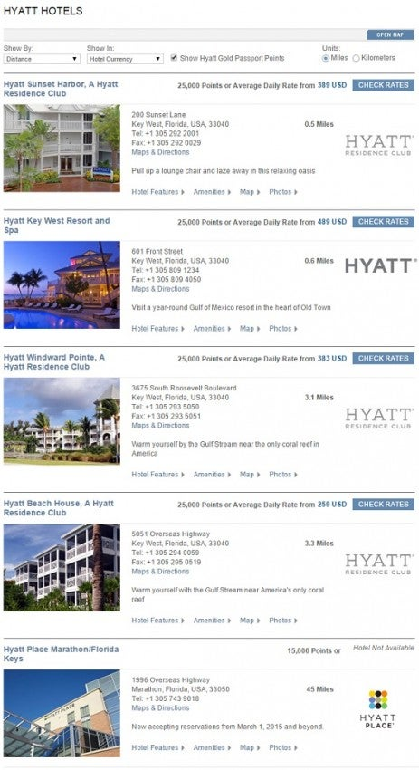 All of these Hyatt properties in the Florida Keys can still be booked with points during Christmas week.