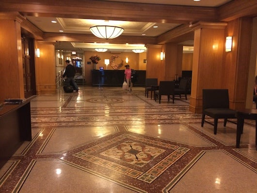 The hotel's spacious lobby with ornate tile details