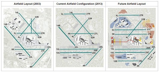 Here is how Chicago O'hare is reconfiguring its runways.