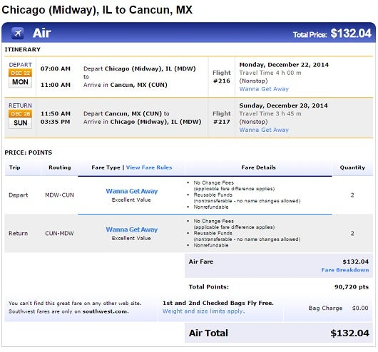 Here is an example of award space to Cancun in Southwest's Wanna Get Away Far Class