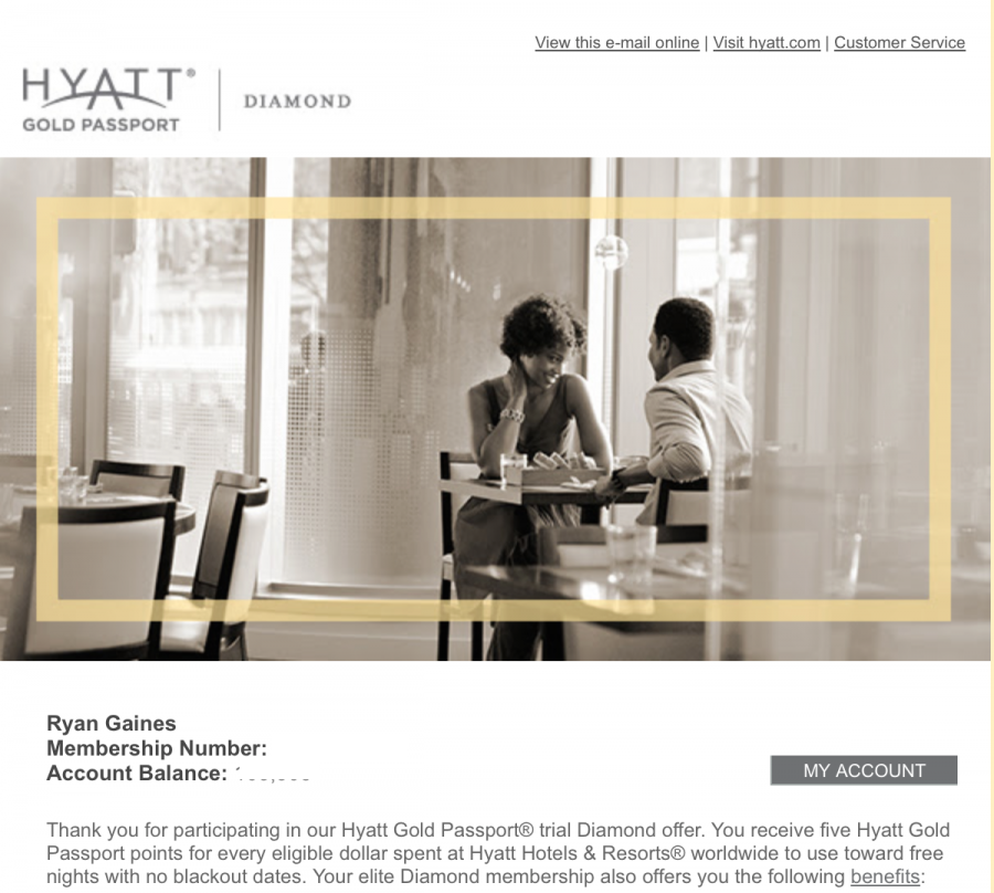 Hyatt Gold Passport Diamond Challenge