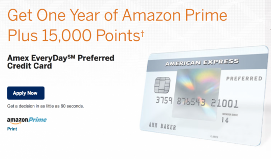 The Amex Everyday cards now come with a first year of Amazon Prime for free.