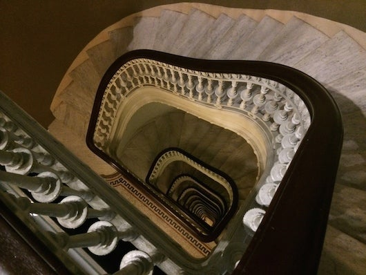 That's 17 floors of marble spiral stairs