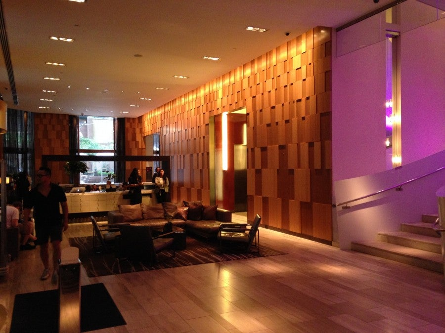 The open and airy lobby of the Andaz Wall Street