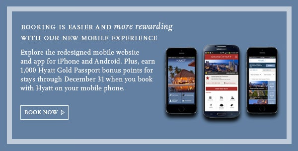 Contemplating a Hyatt stay this season? Book through the mobile app and receive 1,000 bonus points