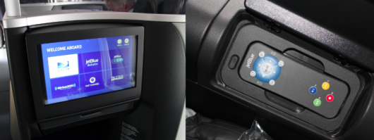 Mint's IFE has a 15-inch (non-touch) flat-screen and a remote imbedded in the armrest