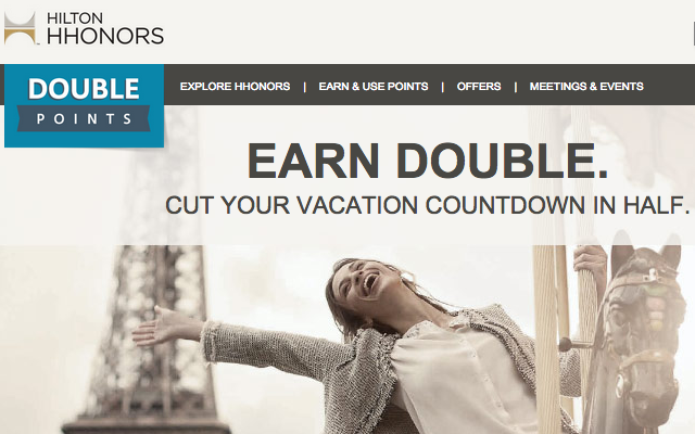 Hilton HHonors' Double Up promo will earn you double points on your second stay through January 31, 2015.