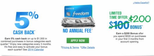 The Chase Freedom is currently offering an increased sign-up bonus.