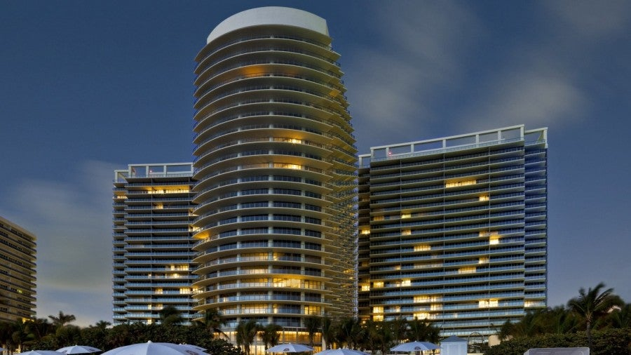 An evening shot of the St. Regis Bal Harbour in South Florida, where my upgrade/downgrade took place.