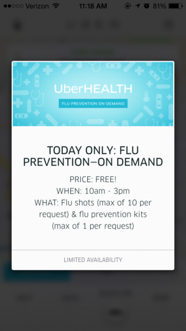 Today only, Thursday, October 23, in NYC, Boston and D.C., an UberHEALTH screen on the Uber app allows you access to free flu prevention.