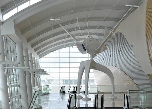 Space Observer is one of many art installations at San Jose Mineta (SJC)