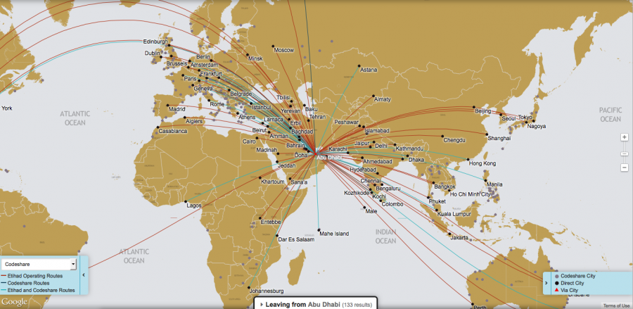 Etihad's extensive global route map.