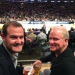 My dad (right) and I celebrating his birthday in SPG style at Madison Square Garden's Center Court, Row 1 for the Knicks vs. the Jazz