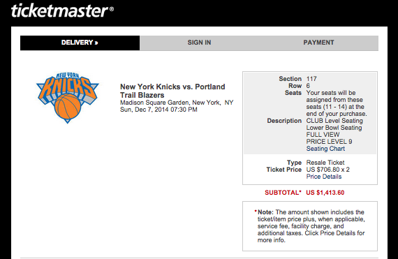 Trail Blazers Game At MSG, Two Row 6, Center Court Tix Cost $1,4,13.60