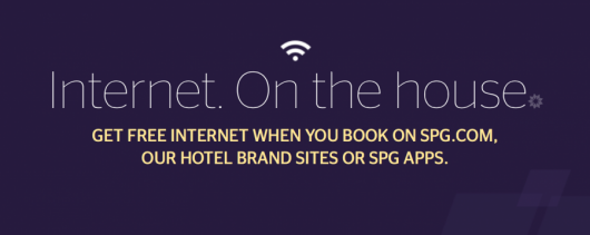 SPG members will receive free internet access if they book through Starwood.