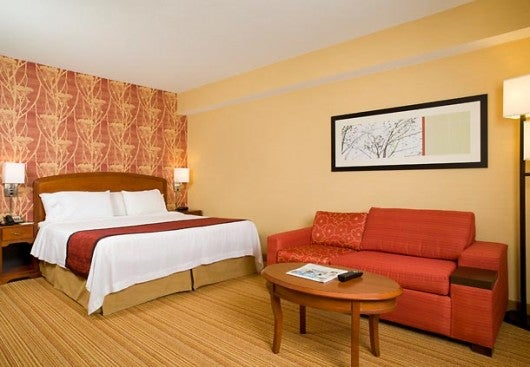 At the Courtyard Marriott in Boston's Brookline area, the rooms and lobby are large and full of light.