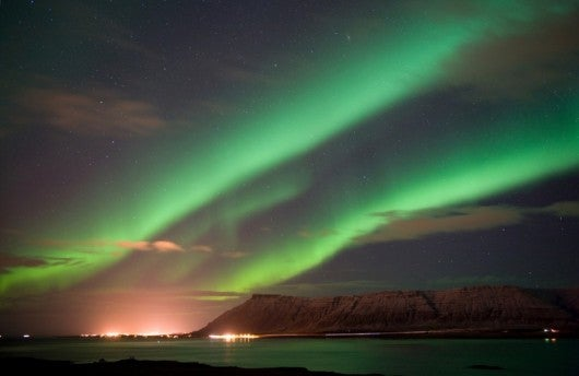 The northern lights on display near Reykjavik (Image courtesy of Shutterstock)