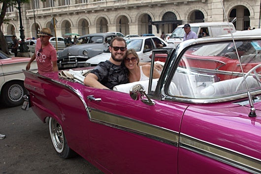 Riding in our Barbie-Pink, 1957 Ford convertible