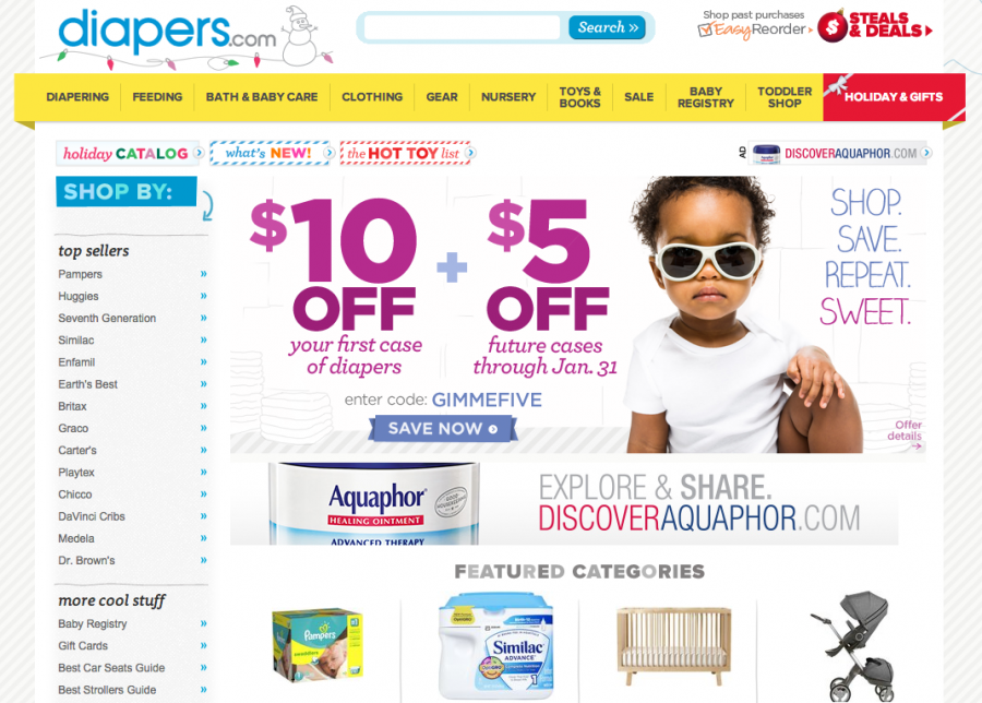 Diapers.com is another option, and they are on several online shopping portals.