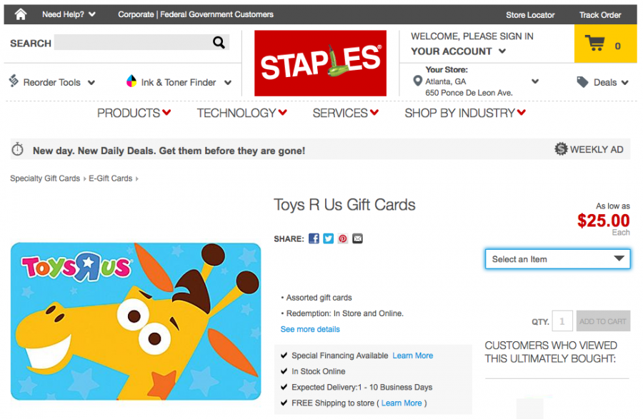 You can purchase a Toys R Us gift card online through Staples and earn 5 points per dollar with a Chase Ink card.