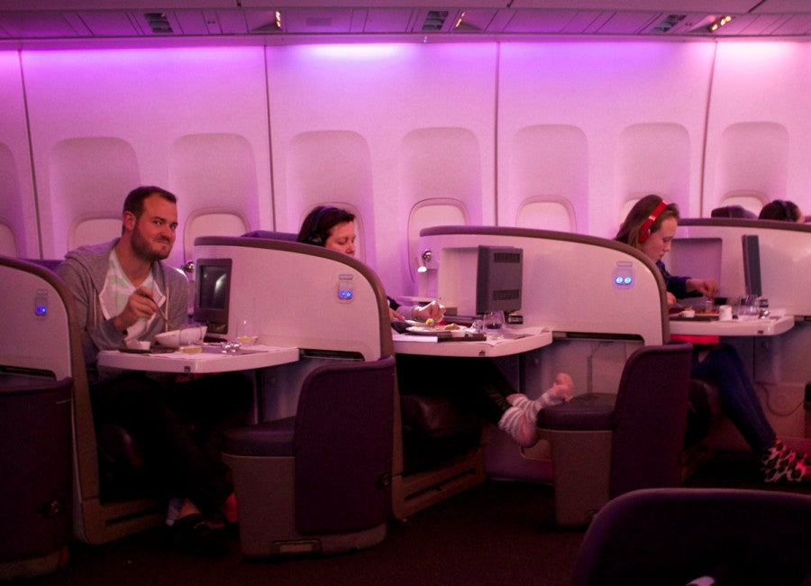 Virgin atlantic upper class experience lhr jfk caught by my across the aisle neighbor reheart Images