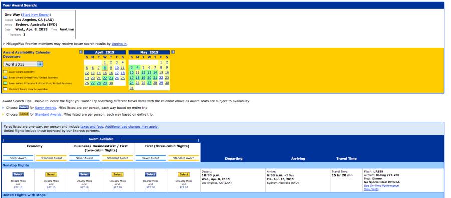 United Award Calendar For Los Angeles To Sydney With Plenty Of Availability