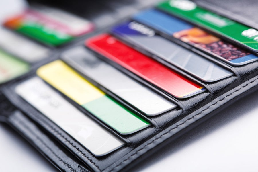 I keep most of my cards at home in a big wallet locked up, and just carry a few with me. Photo courtesy of Shutterstock.