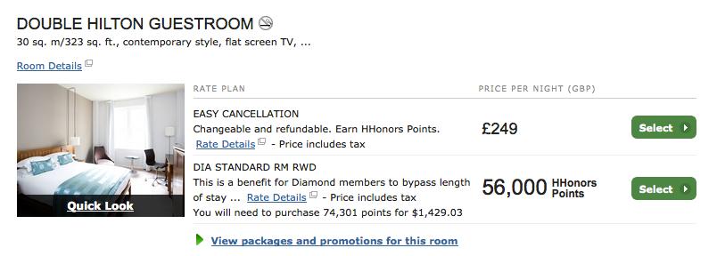 Sell Reward Night Hotel Room