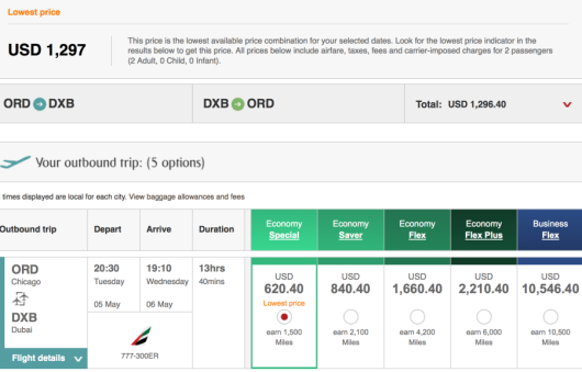 Searching from Chicago to Dubai, I was able to find fares for just under $1,299 for two.