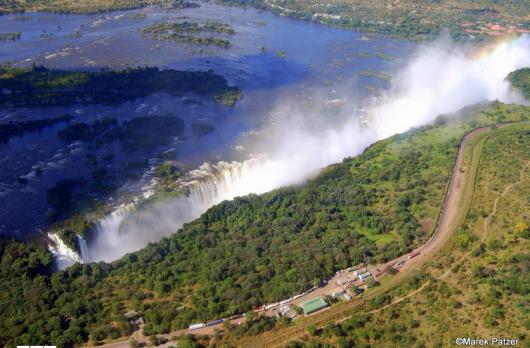 Aerial shot of Victoria Falls. Photo courtesy of Zambia Tourism, photo credit: Marek Patzer.