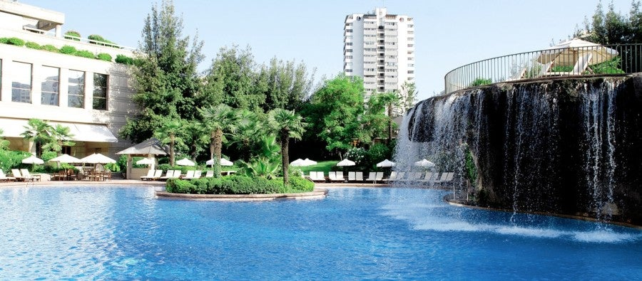 The outdoor pool at the Grand Hyatt Santiago is a great spot to relax.