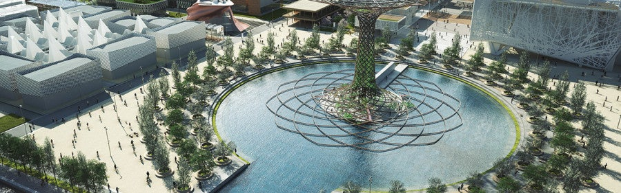 Lake and fountain in the Expo grounds. Courtesy of Milan Expo