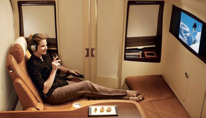 Though they were introduced 8 years ago, Singapore's Suites are still among the most highly rated first class seats in the world. Photo courtesy of Singapore Airlines.