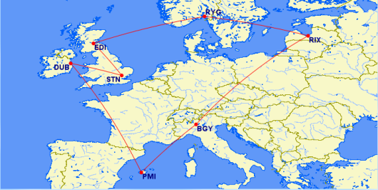 Using Ryan, I can fly a circle around Europe for $381- including a 30 lb. checked bag.