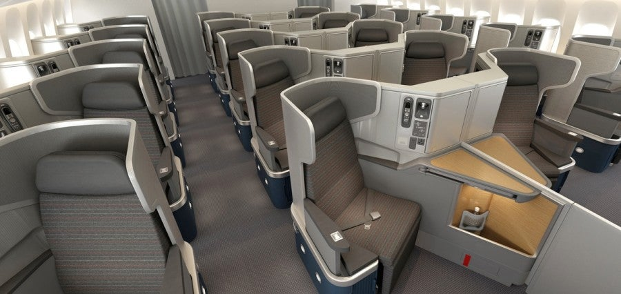 American's 777-300ER business class seats are new and in the popular reverse-herringbone configuration.