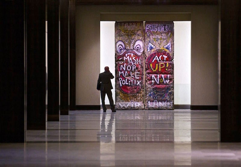The Hilton Anatole has the largest collection of art and antiques, including these segments of the Berlin Wall.