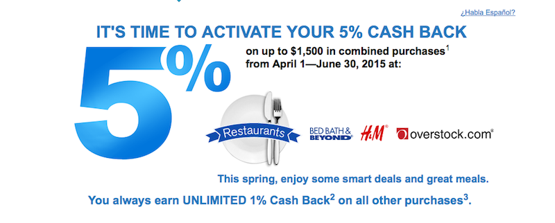 The Freedom's 5X bonus categories this quarter include restaurants and Overstock.com.